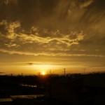 夕日が見えちゃった