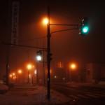 斜里駅前から、道の駅しゃり方向(2/22 18:30ごろ)